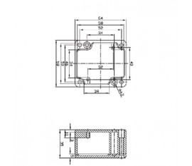 Aluminium enclosure 64x58x35 mm