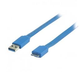 Câble USB 3.0 A mâle - micro USB 3.0 B mâle plat 2.00 m