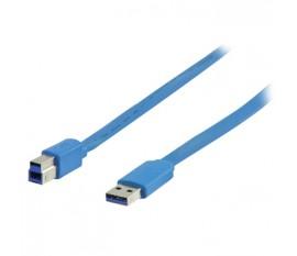 Câble USB 3.0 A mâle - B mâle plat 2.00 m