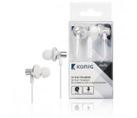 Écouteurs intra-auriculaires blancs inclinés à câble plat, 13mm