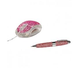 Sac à main stylet et souris diamant rose