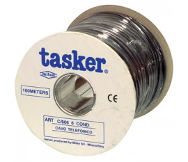 Telephone cable 6 conductors on reel 100 m black