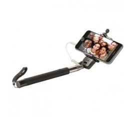 Bâton pour selfie extensible avec obturateur, poignée antidérapante et lanière de sécurité