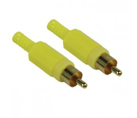 Video connector RCA male yellow (2x)