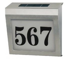 Stainless steel solar power house number