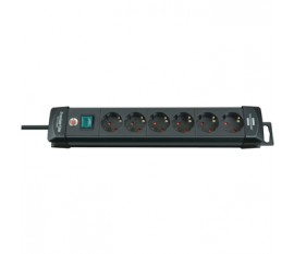 Extension socket Premium-Line 6-way black 3.00 m H05VV-F 3G1,5