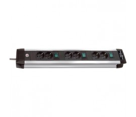 Premium-Alu-Line Technics extension socket 3x2-way 3m H05VV-F 3G1,5 every 2 sockets switched