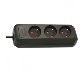 Extension socket Eco-Line 3-way black H05VV-F 3G1,5