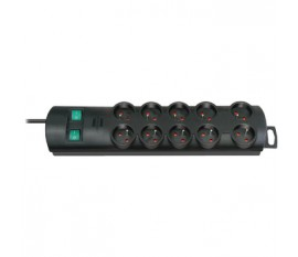 Extension socket Primera-Line 10-way black H05VV-F 3G1,5