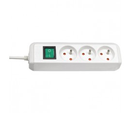 Extension socket Eco-Line 3-way white H05VV-F 3G1,5 + switch