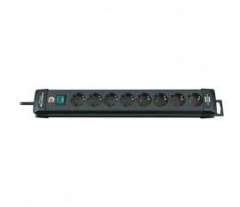 Extension socket Premium-Line 8-way black H05VV-F 3G1,5