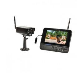 """Kit de surveillance numérique sans fil 2,4GHz avec visualisation mobile à distance, avec 1caméra et 1enregistreur avec moniteur LCD 7"""" intégré"""