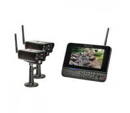 """Kit de surveillance numérique sans fil 2,4GHz avec 2caméras et 1enregistreur avec moniteur LCD 7"""" intégré"""