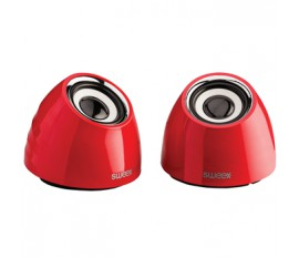 Jeu de deux haut-parleurs portables2.0 alimenté par USB 3W rouge