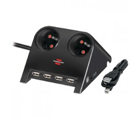 2-Way Desktop-Power-Plus with USB 2.0 hub, black