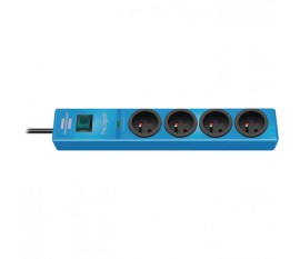 hugo! 4-way extension socket with surge protection, blue