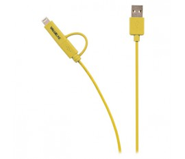 Câble de synchronisation et de chargement USB 2.0 A mâle - Micro B mâle avec adaptateur Lightning, longueur 1m, jaune