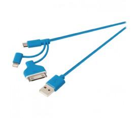 Câble de synchronisation et de chargement 3 en 1, USB 2.0 A mâle vers Micro B mâle avec adaptateur Lightning et adaptateur pour station 30broches, longueur 1m, bleu
