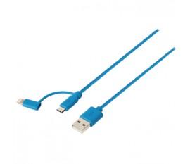 Câble de synchronisation et de chargement 2 en 1, USB 2.0 A mâle vers Micro B mâle avec adaptateur Lightning, longueur 1m, bleu