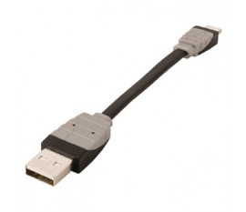 Câble de synchronisation et de chargement USB, USB A mâle vers Lightning mâle 8broches, longueur 0,10m, noir