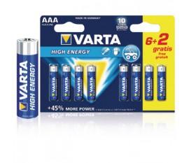 Piles alcalines AAA/LR03 1.5 V High Energy 6+2pcs/blister