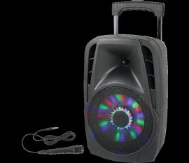 """Enceinte mobile amplifiée 8"""" 300W à LEDs AVEC USB, BLUETOOTH, FM et MICRO PARTY 8-LED"""