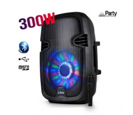 "Enceinte mobile amplifiée 8"" 300W à LEDs RVB USB/BLUETOOTH PARTY 7-LED"