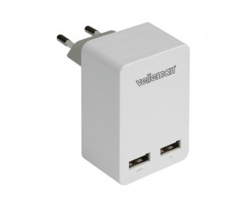 CHARGEUR AVEC DOUBLE CONNEXION USB 5 V - 3.4 A max. (2.4 + 1 A)
