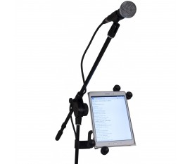 "Universal Tablet holder for microphone stands for 7"" to 11"" screens."