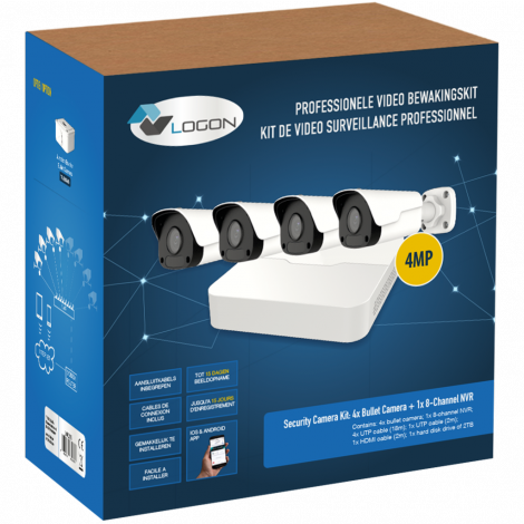LVK-210 SECURITY CAMERA KIT: 4X BULLET CAMERAS 4MP + 8-CHANNEL NVR + HDD 2Tb