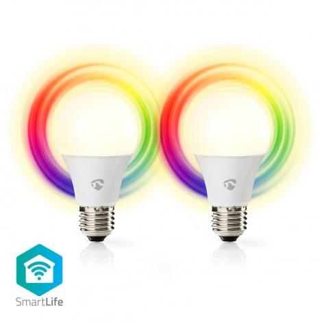Nedis Ampoules LED Intelligentes Wi-Fi | Pleine Couleur et Blanc Chaud | E27 | Lot de 2