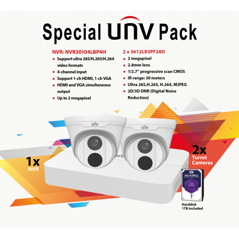 UNVPACK: 4-CHANNEL POE NVR + 1 TB HDD + 2x 3612LR3PF28D