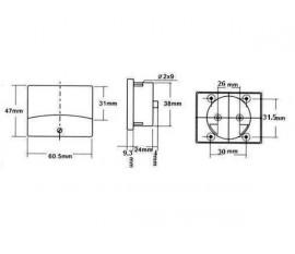 VOLTMETRE ANALOGIQUE DE TABLEAU 150V CA / 60 x 47mm
