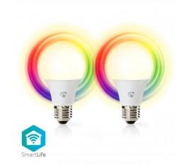 Nedis Ampoules LED Intelligentes Wi-Fi   Pleine Couleur et Blanc Chaud   E27   Lot de 2