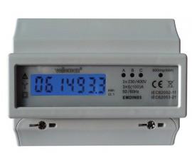 COMPTEUR kWh TRIPHASÉ POUR MONTAGE SUR RAIL DIN - 7 MODULES