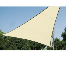 VOILE SOLAIRE PERMÉABLE - TRIANGLE - 5 x 5 x 5 m - COULEUR CHAMPAGNE
