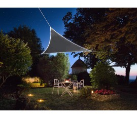 VOILE SOLAIRE AVEC CONTOUR LED - TRIANGULAIRE - 3.6 x 3.6 x 3.6 m - Taupe / anthracite ou jaune