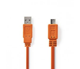Câble USB 2.0 | A Mâle - Micro B Mâle | 1,0 m | Orange