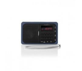 Radio FM | 3,6 W | Port USB et Logement Carte microSD | Noir/Bleu