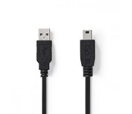 Câble USB 2.0 | A Mâle - Mini Mâle à 5 Broches | 1,0 m | Noir