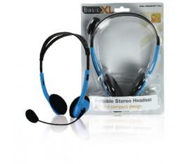 Ecouteurs audio Sur l'oreille 2x 3.5 mm Microphone intégré 2.0 m Bleu