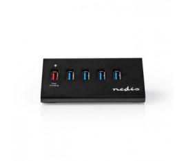 Hub USB | 5 Ports | Alimentation USB 3.0 | Port de Recharge QC3.0 | 5 Gbit/s | Aluminium