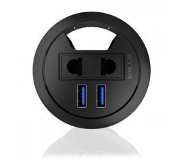 2-Port Hub USB 1x 230 V (EU/US) Comptoir Noir