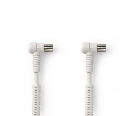 Câble Coaxial 120 dB | CEI (coaxial) Mâle Coudé - CEI (Coaxial) Femelle Coudé | 3,0 m | Blanc