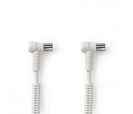 Câble Coaxial 120 dB | CEI (coaxial) Mâle Coudé - CEI (Coaxial) Femelle Coudé | 10 m | Blanc