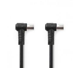Câble Coaxial 120 dB | CEI (coaxial) Mâle Coudé - CEI (Coaxial) Femelle Coudé | 1,5 m | Noir