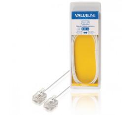 Câble de Télécommunication RJ11 (6P4C) Femelle - RJ11 (6P4C) Femelle Nappe 2.00 m Blanc