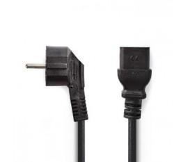 Câble d'Alimentation | Prise Schuko Coudée - CEI-320-C19 | 2,0 m | Noir