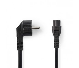 Câble d'Alimentation   Schuko Mâle Coudé - IEC-320-C5   5,0 m   Noir