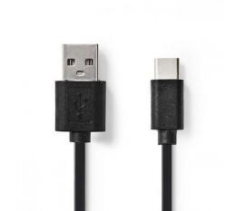 Câble USB 2.0 | Type-C Mâle - A Mâle | 0,1 m | Noir